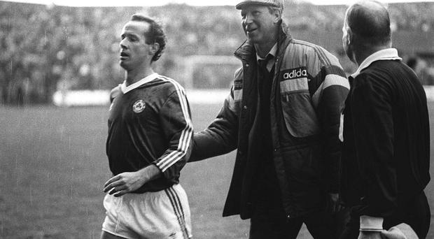 Ireland manager Jack Charlton congratulates Liam Brady back in 1987