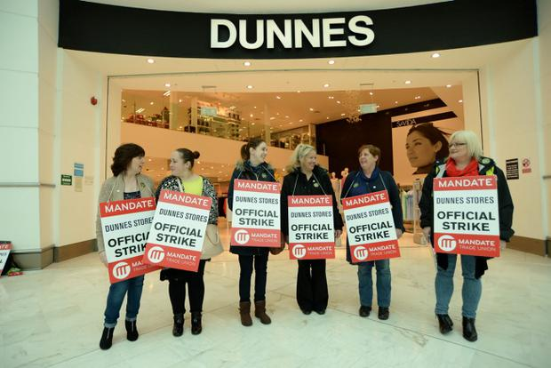 General view of Dunnes Stores employees striking outside Dunnes Stores shop in Liffey Valley Shopping Centre, Dublin. Picture: Caroline Quinn