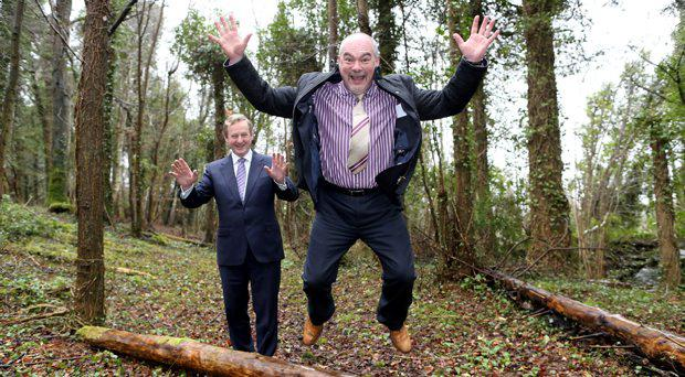 .Pictured in Ballymahon Co.Longford at the Coillte owned Newcastle Woods where the site will be was Taoiseach Enda Kenny TD with Martin Dalby CEO of Center Parcs. The parc is expected to open in 2019