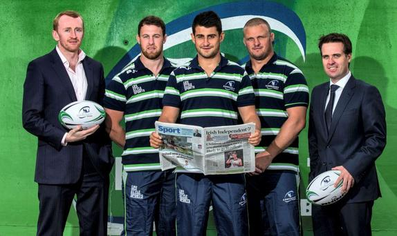 Pictured (L-R) Alex Saul, Connacht Head of Commercial and Marketing, Willie Faloon, Tiernan O'Halloran, Nathan White and Geoff Lyons, Group Marketing Manager INPHO/James Crombie