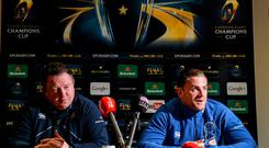 Leinster captain Jamie Heaslip and head coach Matt O'Connor during a press conference. Leinster Rugby Press Conference, Leinster Rugby HQ, UCD, Belfield, Dublin. Picture credit: Matt Browne / SPORTSFILE