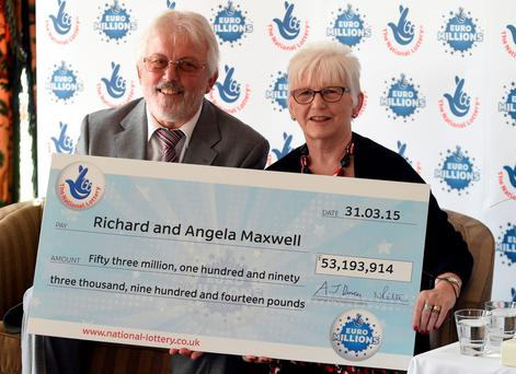 Richard and Angela Maxwell, from Boston in Lincolnshire, who have landed the 10th biggest National Lottery win ever after scooping more than £53 million. Photo: Joe Giddens/PA Wire