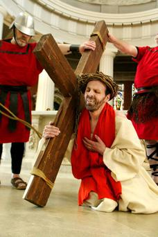 Michael Redmond as 'Jesus' in the passion play of the Stations of the Cross held in the Pro-Cathedral, Dublin. Photo: Tom Burke.