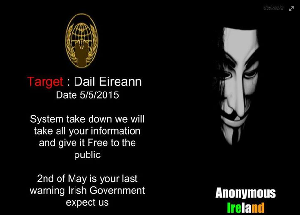 Photo: Facebook/ Anonymous Ireland expect us Official