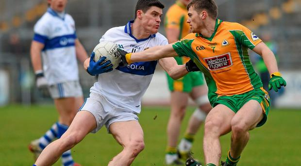 Corofin's Liam Silke, right, in action against Diarmuid Connelly, St Vincent's