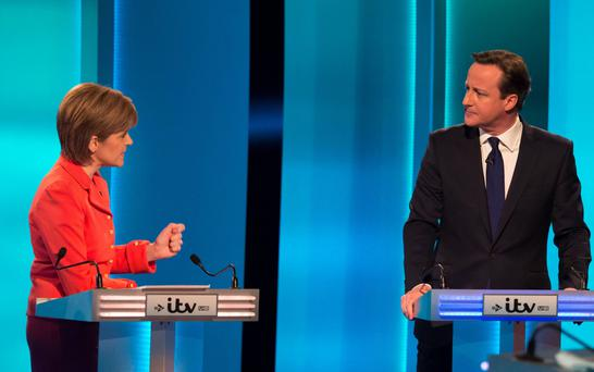 First Minister Nicola Sturgeon and Prime Minister David Cameron during the debate (Ken McKay/ITV/REX/PA Wire)