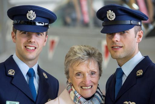 Theresa Mohan with her twin grandsons Eugene and Frankie Mohan who are the first twins to serve as Aircorps pilots. Pictured at Frankie's (on right) commissioning of Military Pilots Wings and Presidential Commissions at a Ceremony in the Air Corps Headquarters in Casement Aerodrome, Baldonnel. Pic:Mark Condren 2.4.2015