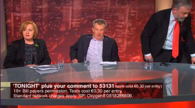 SIPTU boss Jack O'Connor on TV3's 'Tonight With Vincent Browne'. In this picture, he is seen walking off the set. Socialist Party TD Ruth Coppinger and journalist Eamon Delaney are also part of the panel Pic: TV3