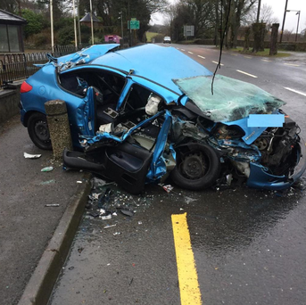 Driver in this car escaped with minor injuries following collision on N81. @GardaTraffic