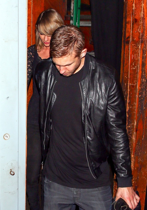 Taylor Swift and Calvin Harris face the paparazzi as they leave The Troubador in West Hollywood together