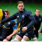 Leinster captain Jamie Heaslip with his team-mates during their captain's run. Aviva Stadium, Lansdowne Road, Dublin. Picture credit: Matt Browne / SPORTSFILE