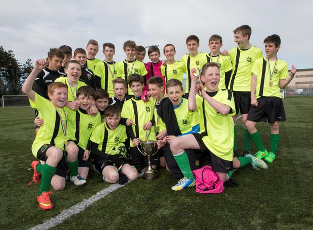 St Benildus College celebrate after winning the Leinster Boys 1st year Cup Final: St Benildus College v Colaiste Choilm Tullamore at Leixlip United FC
