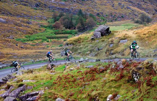 Cyclists take on the Gap of Dunloe in Kerry.
