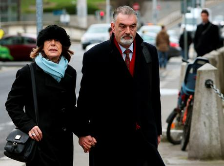 Ian Bailey and Jules Thomas arrive at the Four Courts in Dublin, March 30 (Brian Lawless/PA Wire)
