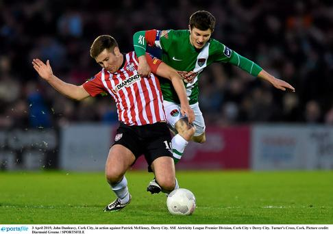 John Dunleavy, Cork City, in action against Patrick McEleney, Derry City. Photo: Diarmuid Greene / SPORTSFILE