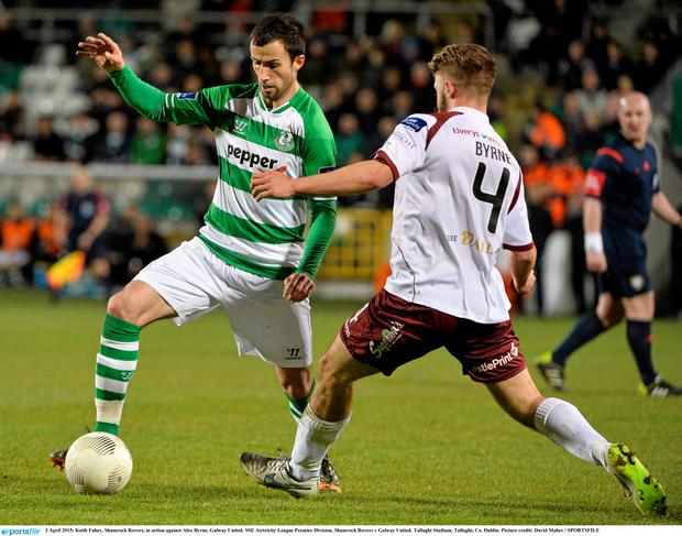 3 April 2015; Keith Fahey, Shamrock Rovers, in action against Alex Byrne, Galway United. SSE Airtricity League Premier Division, Shamrock Rovers v Galway United. Tallaght Stadium, Tallaght, Co. Dublin. Picture credit: David Maher / SPORTSFILE