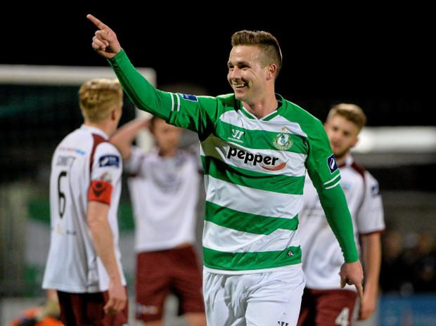 3 April 2015; Michael Drennan, Shamrock Rovers, celebrates after scoring his side's second goal. SSE Airtricity League Premier Division, Shamrock Rovers v Galway United. Tallaght Stadium, Tallaght, Co. Dublin. Picture credit: David Maher / SPORTSFILE