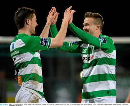 3 April 2015; Shamrock Rovers' Michael Drennan, right, celebrates after scoring his side's second goal with team-mate David O'Connor. SSE Airtricity League Premier Division, Shamrock Rovers v Galway United. Tallaght Stadium, Tallaght, Co. Dublin. Picture credit: David Maher / SPORTSFILE