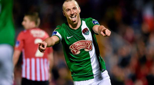 Cork City's Karl Sheppard celebrates after scoring his side's third goal in their win over Derry City. Photo: Diarmuid Greene / SPORTSFILE