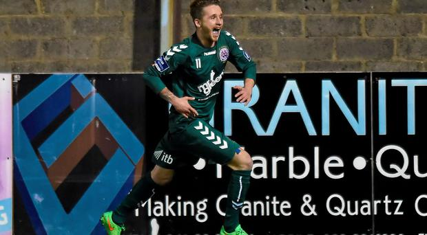Marc Griffin celebrates after scoring late on for Bohemians in their win over Drogheda United. Photo: Paul Mohan / SPORTSFILE