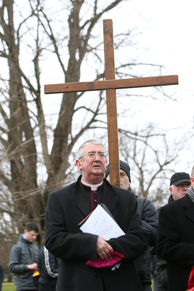 Archbishop of Dublin Diarmuid Martin taking part in The Way of the Cross in the Phoenix Park. Photo: Damien Eagers