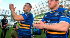 Leinster's Jimmy Gopperth, left, and Sean Cronin after the game. European Rugby Champions Cup Quarter-Final, Leinster v Bath. Aviva Stadium, Lansdowne Road, Dublin. Picture credit: Pat Murphy / SPORTSFILE