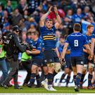Leinster's Jamie Heaslip applaudes the crowd following his side's victory. European Rugby Champions Cup Quarter-Final, Leinster v Bath. Aviva Stadium, Lansdowne Road, Dublin. Picture credit: Stephen McCarthy / SPORTSFILE