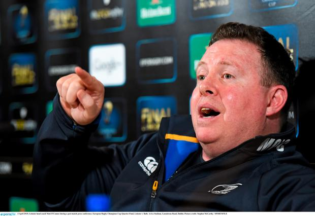 Leinster head coach Matt O'Connor during a post-match press conference. European Rugby Champions Cup Quarter-Final, Leinster v Bath. Aviva Stadium, Lansdowne Road, Dublin. Picture credit: Stephen McCarthy / SPORTSFILE