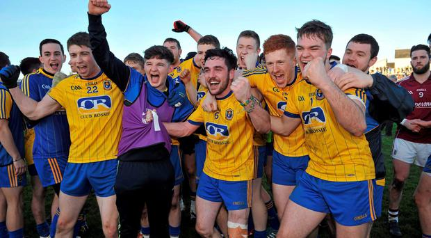 4 April 2015; Roscommon players celebrate after their side's victory. EirGrid Connacht U21 Football Championship Final, Galway v Roscommon. Tuam Stadium, Tuam, Co. Galway. Picture credit: Ray Ryan / SPORTSFILE