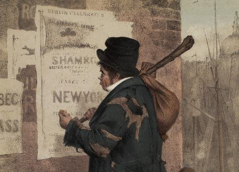 OUTWARD BOUND: A 19th century poster depicting a man leaving Dublin (Custom House in the background) for the USA