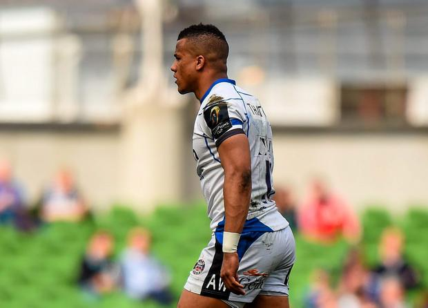 Anthony Watson, Bath, makes his way to the sin-bin after being shown a yellow card by match referee Jerome Garces