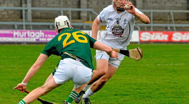 Martin Fitzgerald, Kildare, in action against Jack Fagan, Meath