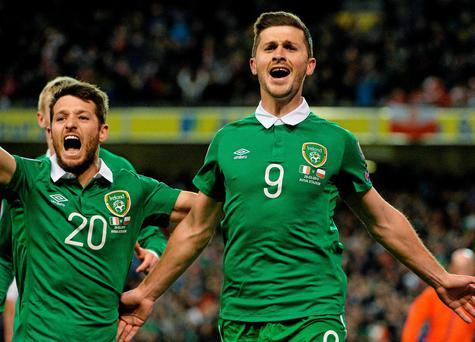 29 March 2015; Shane Long, Republic of Ireland, celebrates after scoring his side's equalsing goal with team-mate Wesley Hoolahan. UEFA EURO 2016 Championship Qualifier, Group D, Republic of Ireland v Poland. Aviva Stadium, Lansdowne Road, Dublin. Picture credit: David Maher / SPORTSFILE