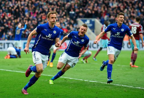 Andy King celebrates after scoring Leicester City's second goal against West Ham United