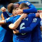 Everton defender Phil Jagielka celebrates scoring for his side against Southampton