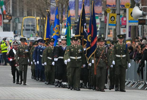 Members of the Colour Parade during a ceremony to marking the 99th Anniversary of the 1916 Easter Rising at the GPO, O'Connell Street, Dublin.Photo: Gareth Chaney Collins