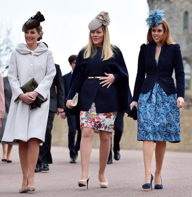 (left to right, front) The Countess of Wessex, Autumn Phillips and Princess Beatrice arrive to attend the Easter Sunday service at St George's Chapel at Windsor Castle in Berkshire.