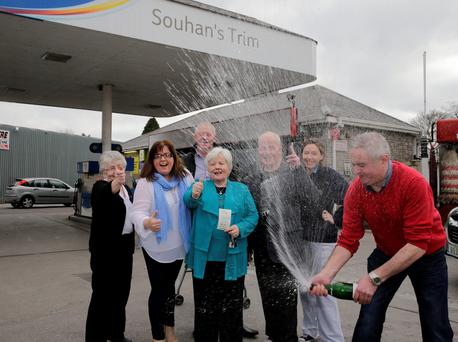 Sheila Carroll, Nicky Souhan, Hellen Morris, Ena Souhan, Jim Toole and Darren Souhan celebrate selling the winning ticket for Saturday night's jackpot of 10.5 million euro at Souhan's service station in Trim, Co Meath. Picture:Arthur Carron