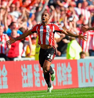Jermain Defoe celebrates after scoring what was the winning goal against Newcastle United at the Stadium of Light (Photo by Michael Regan/Getty Images)