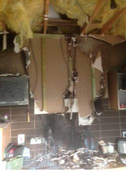 Fire damage in home in Clongriffin, North Dublin Pic: Dublin Fire Brigade/Twitter