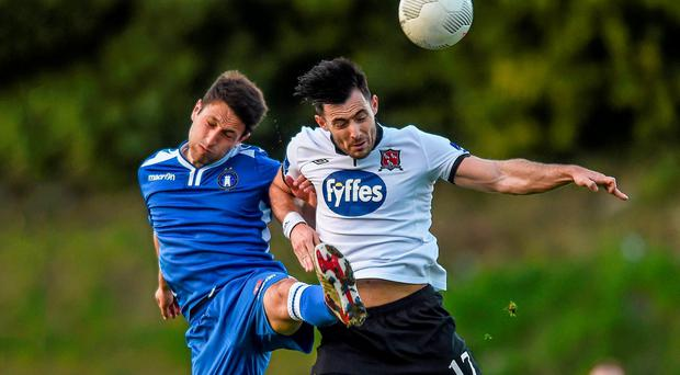 Shane Duggan, Limerick FC, in action against Richie Towell, Dundalk
