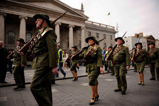 05/04/2015 Irish Volunteer Citizen Army march past the GPO on Dublin's O'Connell St. as part of the 1916 Easter Rising Commemorations. Members of Sinn Fein were present. Photo: Clodagh Kilcoyne