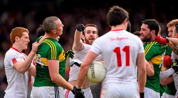 5 April 2015; Kerry and Tyrone players tussle off the ball. Allianz Football League, Division 1, Round 7, Tyrone v Kerry. Healy Park, Omagh, Co. Tyrone