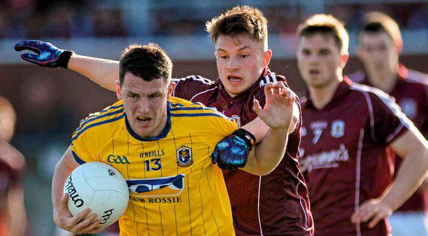 Diarmuid Murtagh, Roscommon, in action against Eoghan Kerin, Galway