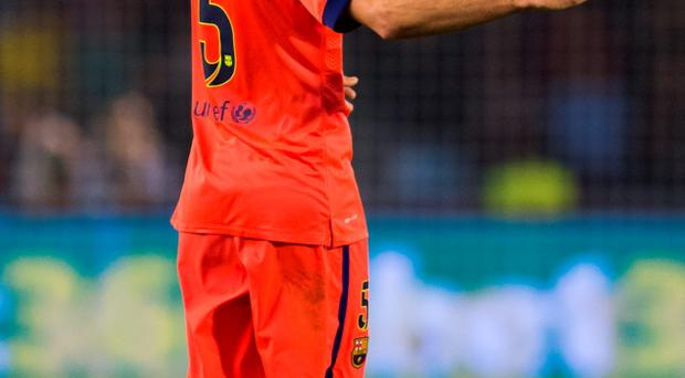 Sergio Busquets of FC Barcelona reacts during the La Liga match between Celta Vigo and FC Barcelona at Estadio Balaidos