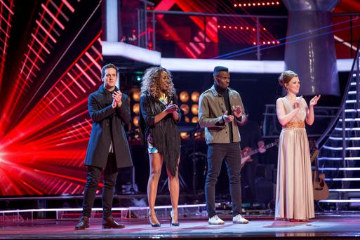 Finalist Lucy O'Byrne singing on the final of the BBC programme The Voice