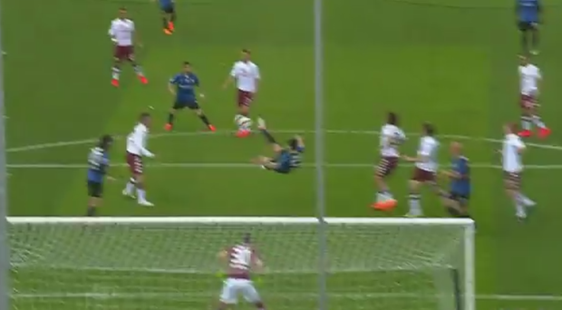 Mauricio Pinilla scores one of the goals of the year