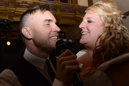 Gary Barlow who sung at the wedding of fan Danielle and Daryl Jones in Berkshire, England. Credit: @becksyoung
