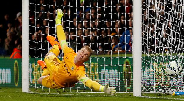Joe Hart fails to prevent Jason Puncheon's free-kick from finding the net for Crystal Palace's second goal at Selhurst Park