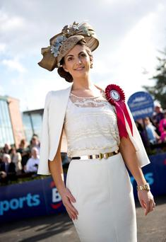 Pictured is Ciara Murphy from Dunboyne who was the winner of the Carton House Most Stylish Lady at the Fairyhouse Easter Racing Festival featuring the BoyleSports Grand National.